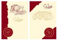 Escrituras de la etiqueta del vino con el barril y el viñedo Foto de archivo