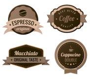Escrituras de la etiqueta del vintage del café Foto de archivo libre de regalías