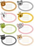 Escrituras de la etiqueta divertidas del animal de la historieta [4] ilustración del vector
