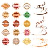 Escrituras de la etiqueta e iconos calientes de la bebida Imagen de archivo