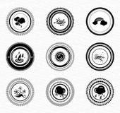 Escrituras de la etiqueta e insignias retras negras: naturaleza Fotografía de archivo