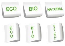 Escrituras de la etiqueta ecológicas Imagen de archivo libre de regalías