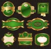 Escrituras de la etiqueta enmarcadas adornadas de lujo de oro-verdes de la vendimia ilustración del vector