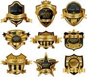 Escrituras de la etiqueta enmarcadas oro stock de ilustración