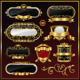Escrituras de la etiqueta enmarcadas oro Foto de archivo libre de regalías