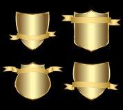 Escrituras de la etiqueta enmarcadas oro Imagen de archivo