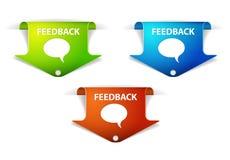 Escrituras de la etiqueta/etiquetas engomadas de la flecha del feedback del vector Foto de archivo libre de regalías