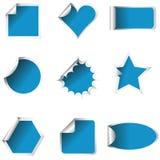 Escrituras de la etiqueta frescas de la muestra coloreadas en azul Fotografía de archivo