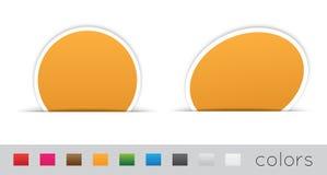 Escrituras de la etiqueta geométricas de la naranja Fotos de archivo libres de regalías