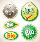Escrituras de la etiqueta naturales y bio del producto Fotografía de archivo libre de regalías