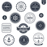 Escrituras de la etiqueta náuticas de la vendimia Foto de archivo