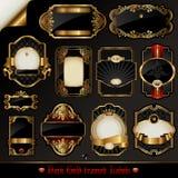 Escrituras de la etiqueta oro-enmarcadas oscuras Imagen de archivo libre de regalías