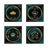 Escrituras de la etiqueta oro-enmarcadas oscuras azules determinadas Imagen de archivo libre de regalías