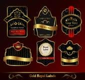 Escrituras de la etiqueta oscuras decorativas de los marcos del oro ilustración del vector