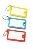 Escrituras de la etiqueta plásticas multicoloras del clave Foto de archivo libre de regalías