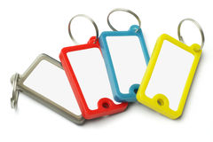 Escrituras de la etiqueta plásticas multicoloras del clave Imágenes de archivo libres de regalías