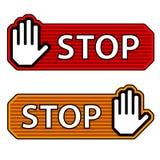 Escrituras de la etiqueta rayadas del gesto de mano de la parada Foto de archivo libre de regalías