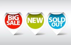 Escrituras de la etiqueta redondas para diversos items stock de ilustración
