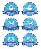 Escrituras de la etiqueta retras de la Navidad y de la venta del invierno Imágenes de archivo libres de regalías