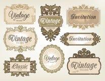 Escrituras de la etiqueta retras de la vendimia stock de ilustración