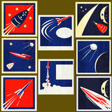Escrituras de la etiqueta retras de la vendimia de los cohetes de espacio Fotos de archivo