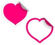 Escrituras de la etiqueta rosadas y blancas del corazón Fotos de archivo libres de regalías