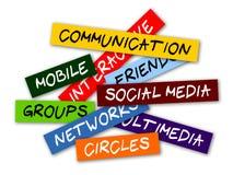 Escrituras de la etiqueta sociales de los media stock de ilustración