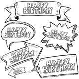 Escrituras de la etiqueta y banderas del feliz cumpleaños Fotografía de archivo libre de regalías