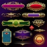 Escrituras de la etiqueta y decoración enmarcadas de oro Imágenes de archivo libres de regalías