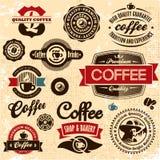 Escrituras de la etiqueta y divisas del café. Imagen de archivo