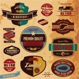 Escrituras de la etiqueta y divisas retras Foto de archivo libre de regalías