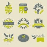 Escrituras de la etiqueta y divisas retras orgánicas con las hojas Foto de archivo