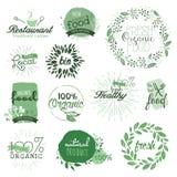 Escrituras de la etiqueta y elementos del alimento biológico Imagen de archivo