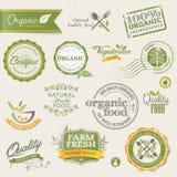 Escrituras de la etiqueta y elementos del alimento biológico Foto de archivo libre de regalías