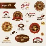 Escrituras de la etiqueta y elementos del café Imagenes de archivo