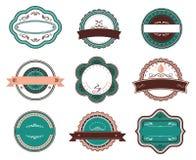 Escrituras de la etiqueta y emblemas retros del alimento Foto de archivo libre de regalías