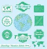 Escrituras de la etiqueta y etiquetas engomadas de la agencia de viajes Imagenes de archivo