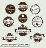 Escrituras de la etiqueta y etiquetas engomadas de la liga de fútbol Imagen de archivo