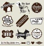 Escrituras de la etiqueta y etiquetas engomadas del departamento del perro de animal doméstico Fotografía de archivo