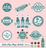 Escrituras de la etiqueta y etiquetas engomadas del estallido de soda Imagen de archivo