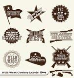 Escrituras de la etiqueta y etiquetas engomadas del oeste salvajes del vaquero