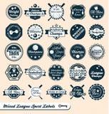 Escrituras de la etiqueta y etiquetas engomadas mezcladas de la liga de los deportes Fotografía de archivo libre de regalías