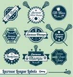 Escrituras de la etiqueta y etiquetas engomadas retras de la liga del lacrosse Foto de archivo libre de regalías