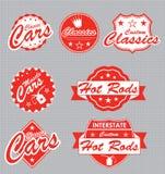 Escrituras de la etiqueta y etiquetas engomadas retras de los coches stock de ilustración