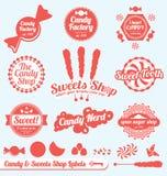 Escrituras de la etiqueta y etiquetas engomadas retras del departamento del caramelo ilustración del vector