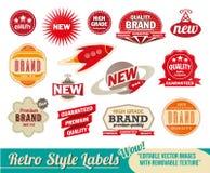 Escrituras de la etiqueta y etiquetas retras de la vendimia Foto de archivo libre de regalías