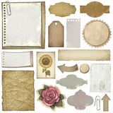 Escrituras de la etiqueta y papeles de la vendimia Foto de archivo