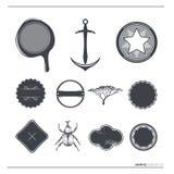 Escrituras de la etiqueta y símbolos del vector de la vendimia Imagen de archivo libre de regalías