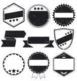 Escrituras de la etiqueta y sellos de Grunge Imagenes de archivo