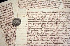 Escrituras y sello antiguos Imagen de archivo